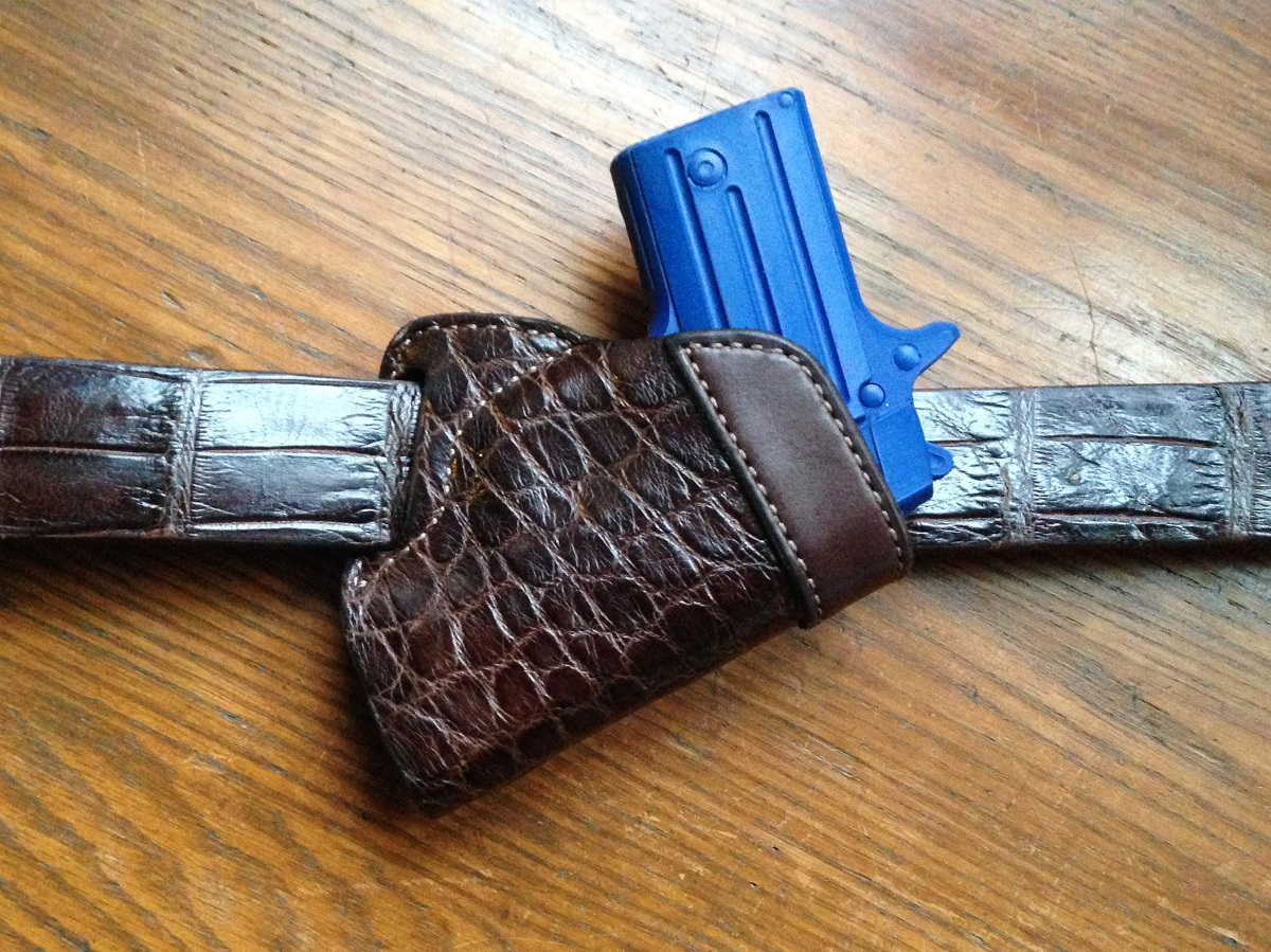 Hill Country Leather - alligator small of back exotic leather holster with belt