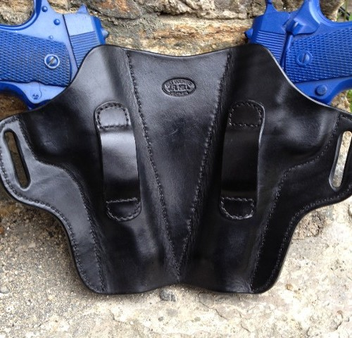 Hill Country Leather - exotic leather face off holster back